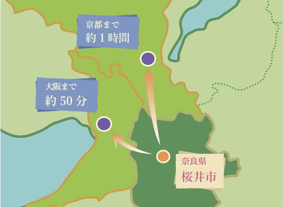桜井市から都市部への地図